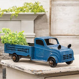 Metal Farmer's Market Truck White Blue Country Porch Displays