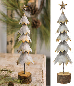 Galvanized Christmas Star Tree Wood Base Tabletop - Jam-Discount Home Decor