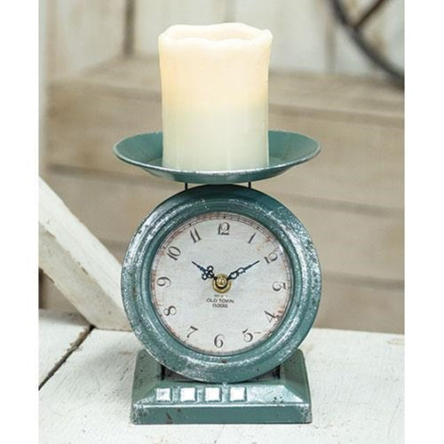 Farmhouse Metal Vintage Scale Clock White & Duck Blue - Jam-Discount Home Decor