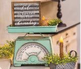 Farmhouse Gifts Vintage GREEN Style Scale w/built in Calendar tray