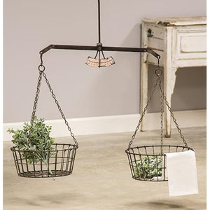 Hanging Scale w/ Two Wire Baskets Floral Display - Jam-Discount Home Decor