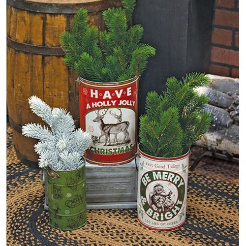 Holly Jolly Metal Christmas Buckets 3 set - Jam-Discount Home Decor