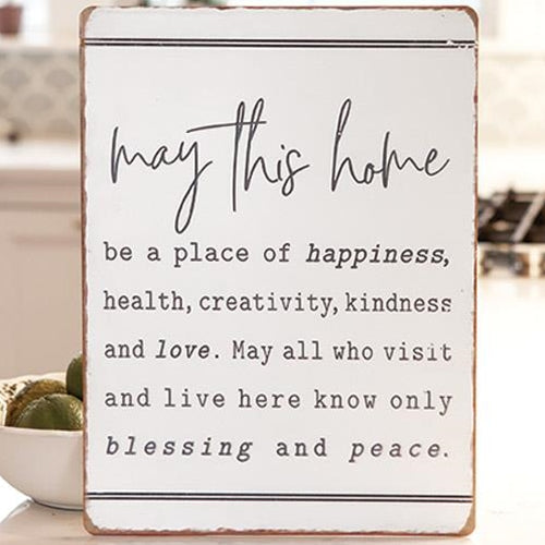 May This Home be Metal White Metal Sign - Jam-Discount Home Decor