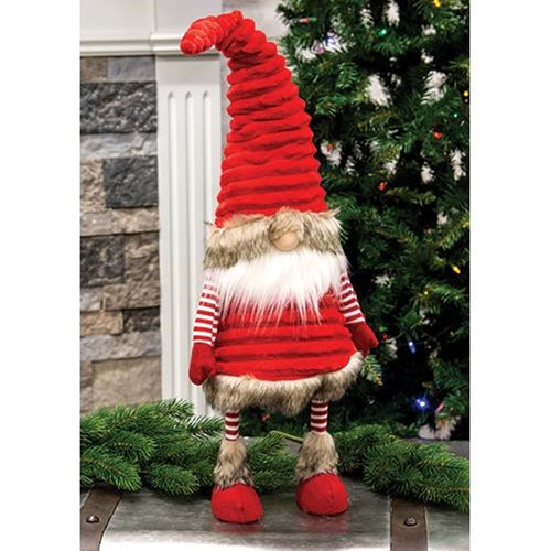 Freestanding Plush Velvet Red Wobble Santa Gnome