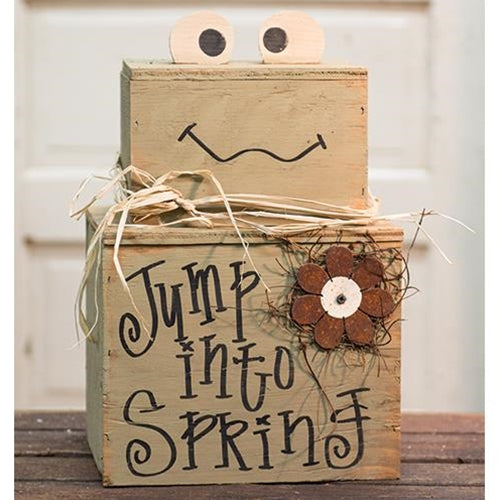 Jump Into Spring Froggy Wood Stacker - Jam-Discount Home Decor