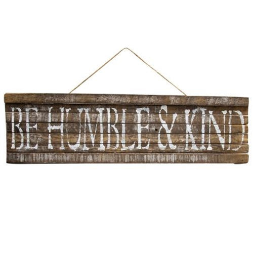 Large Wooden Be Humble & Kind Lath Sign - Jam-Discount Home Decor