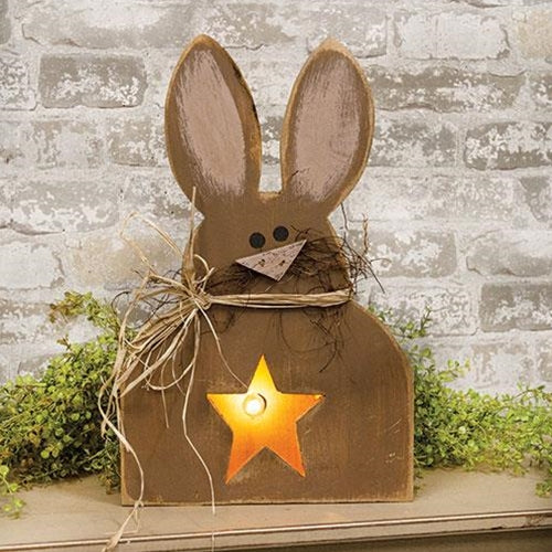 Light Up Chocolate Bunny Box Primitive Light Up Box 17
