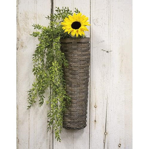 Farmhouse Decor Gray Wash Long John Wall Basket 18x6