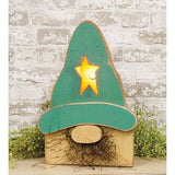 "Light Up Spring Teal Gnome Box USA made 18"" h Rustic Porch"
