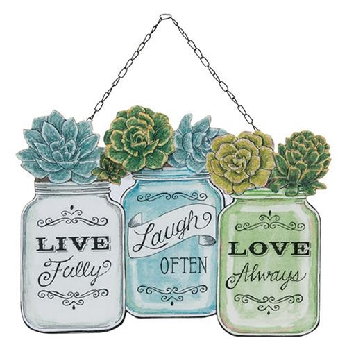 Live Laugh Love Mason Jar Hanging sign plaque - Jam-Discount Home Decor