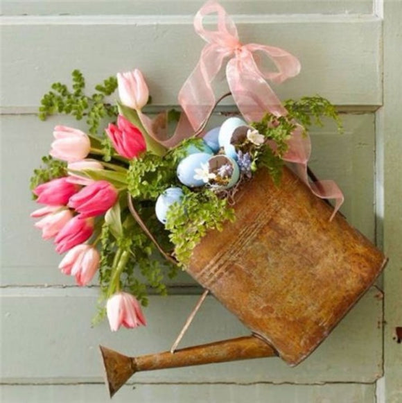 Watering Can Door Wreath Galvanized & Rusty - Jam-Discount Home Decor