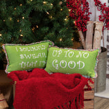Grinch Themed Whimsical Christmas Pillows Up To No Good Set of 2