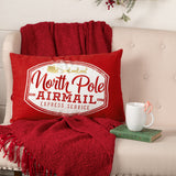 North Pole Airmail Throw Pillow 14x22