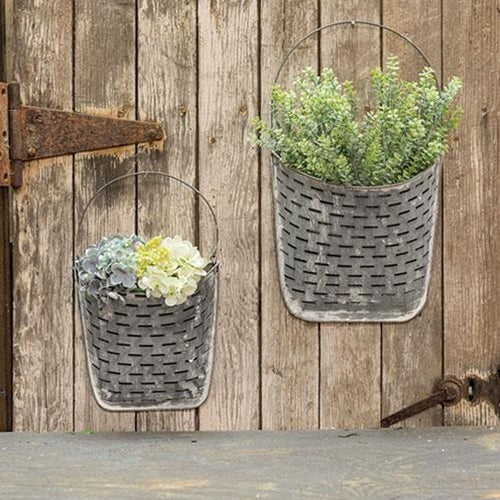 Galvanized & White Olive Wall Pockets 2 Set Farmhouse Wall Decor - Jam-Discount Home Decor