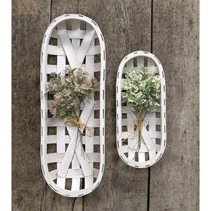 Whitewash Oval Tobacco Baskets 2/Set - Jam-Discount Home Decor