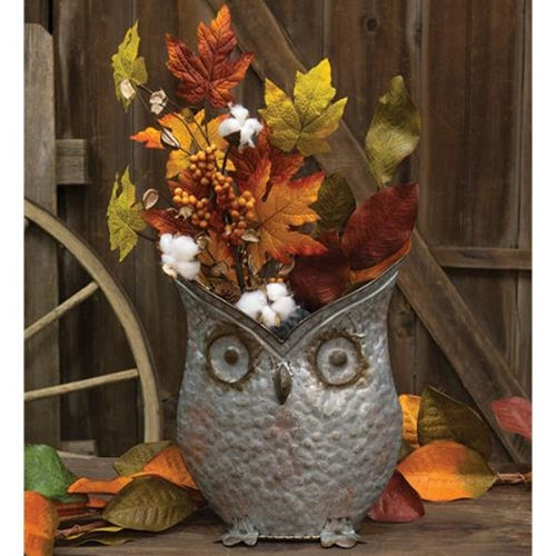 Aged Distressed Owl Bucket Galvanized Metal Bucket - Jam-Discount Home Decor