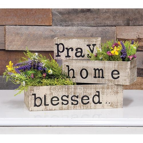 Distressed Blessed Home Pray Planter Boxes 3 Set - Jam-Discount Home Decor