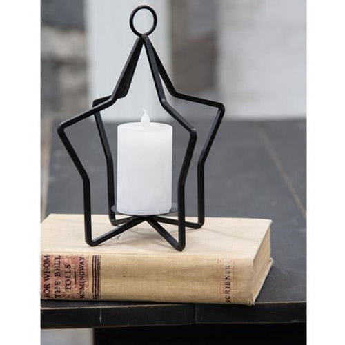 Black Metal Star Pillar Holder - Jam-Discount Home Decor