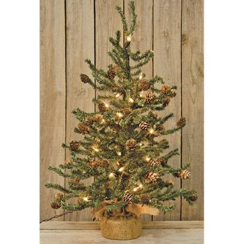 Christmas Table Top Pine Cone Pre lit Holiday Tree - Jam-Discount Home Decor