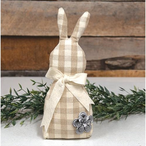 Weighted base Stuffed fabric Neutral Plaid Bunny - Jam-Discount Home Decor