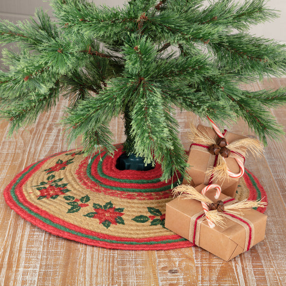 Poinsettias Holly Berries Jute Christmas Tree Skirts Table Mats - Jam-Discount Home Decor
