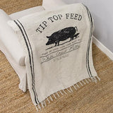 Tip Top Feed Farmhouse Throw Blanket Farmhouse 65x50 Pig Cow Rooster