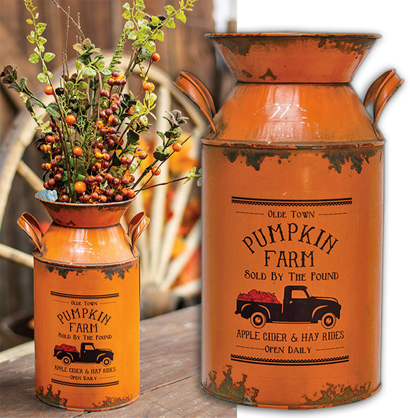 Old Time Pumpkin Truck Galvanized Metal Milk Can Floral Country Rustic Fall Autumn - Jam-Discount Home Decor