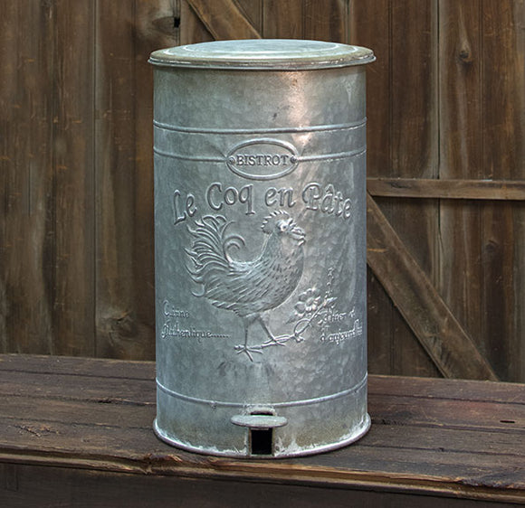 Galvanized Metal Rooster Trash Bin Can Foot Pedal