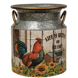 Country Rooster Milk Can Flower Holder Spring Kitchens - Jam-Discount Home Decor