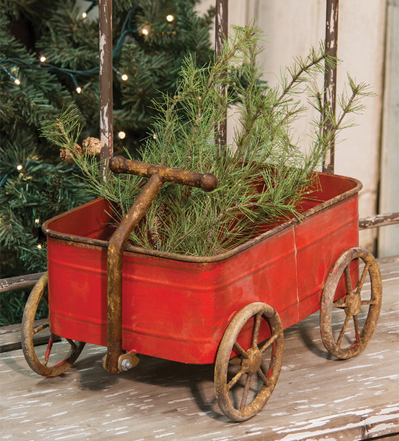 Metal Rustic Red Wagon Christmas Antique-Style Decor Display - Jam-Discount Home Decor