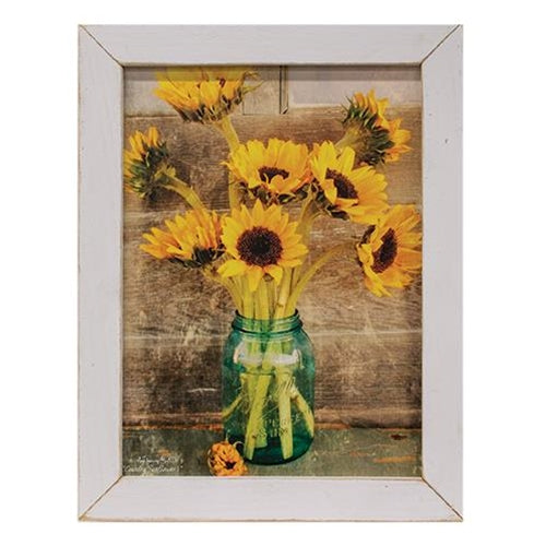 Country Sunflowers Print White Wash Frame Wall Decor