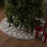 Modern Farmhouse Snowflake Burlap Grey Christmas Tree Skirts