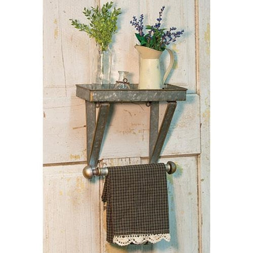 Galvanized metal towel hanger & shelf combo Kitchen Bath Decor - Jam-Discount Home Decor