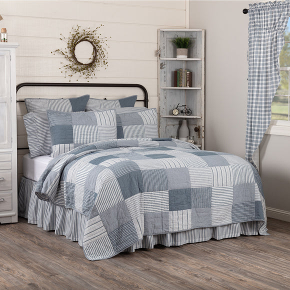 Farmhouse Bedding Sawyer Mill Blue Blocked Quilts Matching Shams Bed Skirts - Jam-Discount Home Decor