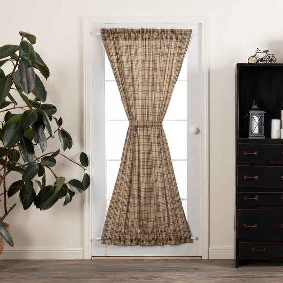 Sawyer Mill Charcoal Plaid Door Panel Curtain 72