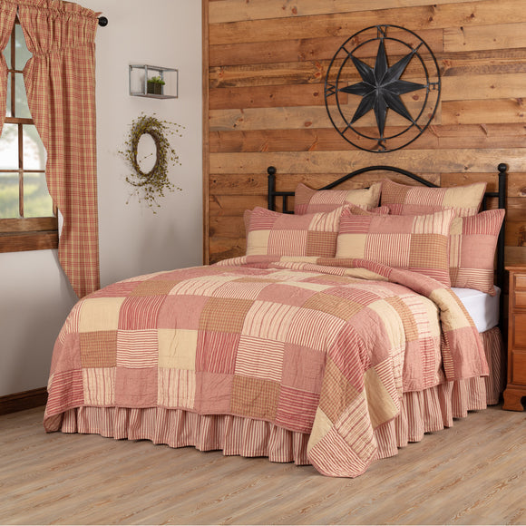Sawyer Mill Red Block Patchwork Quilts King Queen Twin - Jam-Discount Home Decor