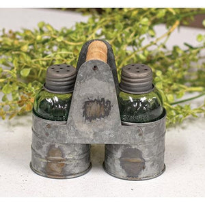 Mason Jar Salt & Pepper Shaker w/ Galvanized Caddie - Jam-Discount Home Decor