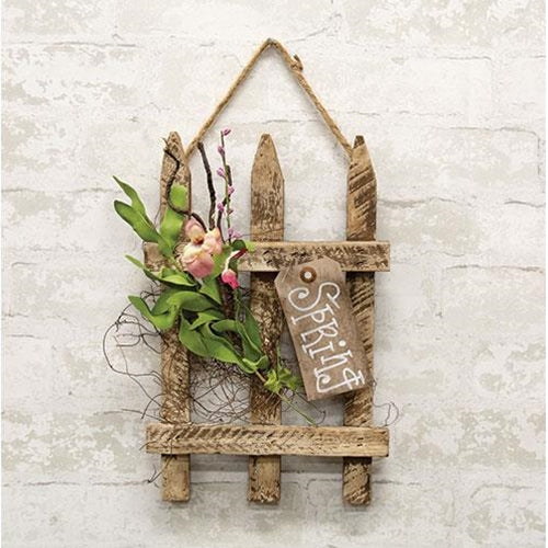 Spring Hanging Lath Gate w/Pink Flowers - Jam-Discount Home Decor