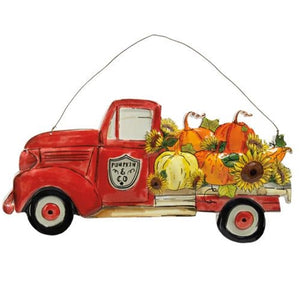 Pumpkin & Co Metal Red Vintage Truck Sunflower Sign