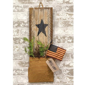 Hanging Lath Black Star Americana Welcome Pouch - Jam-Discount Home Decor