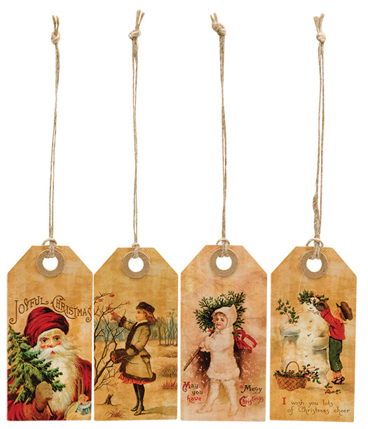4/set primitive old-fashioned Vintage Joyful Christmas Tags Gift Wrapping