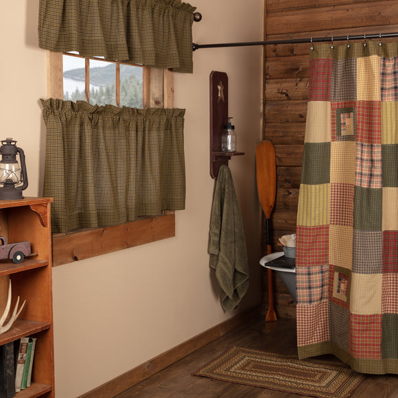 Tea Cabin Shower Curtain Patchwork 72x72 Vhc Brands Country Bathroom