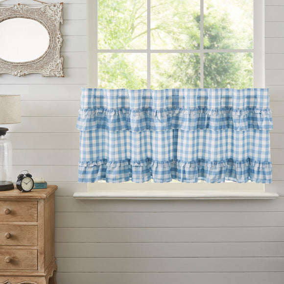 Annie Buffalo Blue Check Ruffled Tier Set L24xW36 L36xW36