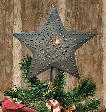 Rustic Tin Star Christmas Tree Topper Primitive Decor - Jam-Discount Home Decor
