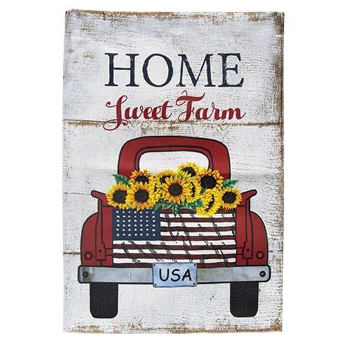 Home Sweet Farm Sunflower USA tag Red Truck Garden Flag 17.5