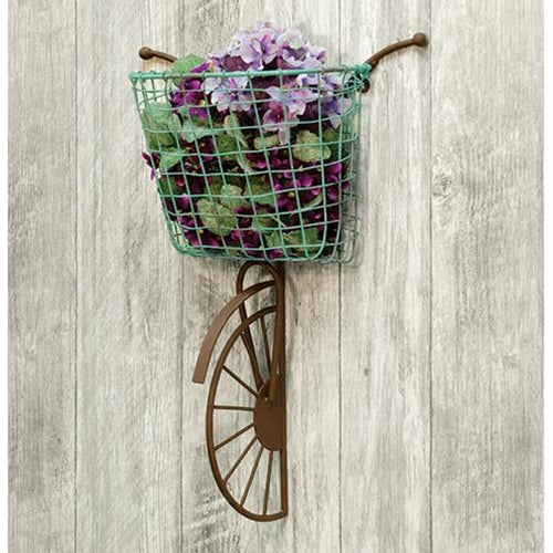 Blue Basket Vintage Style Wall Bike Floral Holder - Jam-Discount Home Decor
