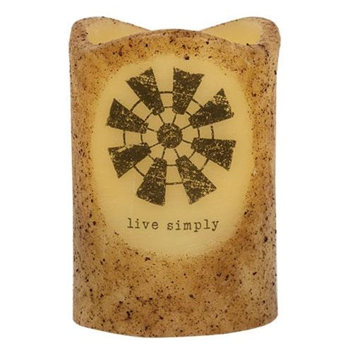 Live Simply Windmill Pillar Flameless Candle Farmhouse