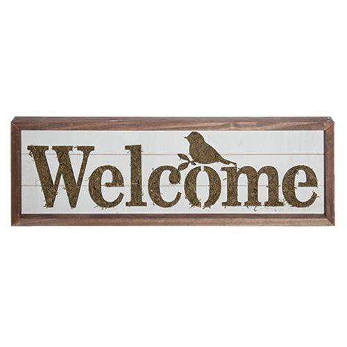 Slatted Wood Box Welcome Sign Mossy Bird Cut Out - Jam-Discount Home Decor