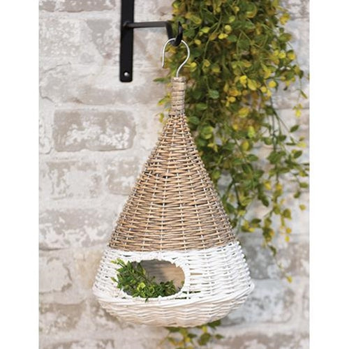 White Dipped Willow Cone Shape BirdHouse 2 Sizes - Jam-Discount Home Decor