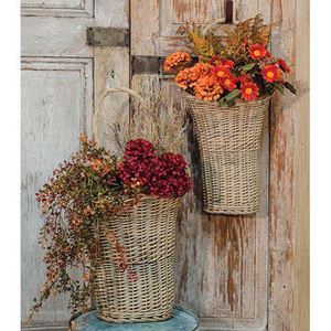 Willow Wall Gray Baskets Loop Handle Floral Holder 2 Set - Jam-Discount Home Decor